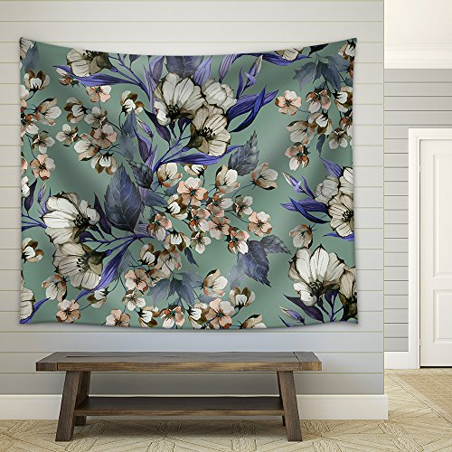 Seamless Floral Pattern with Eustoma on Light Background Watercolor Fabric Wall