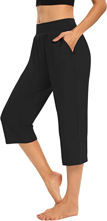 LouKeith Womens Capri Pants Yoga Wide Leg Workout Pajama Lounge Pants Casual Summer Loose Capris with Pockets