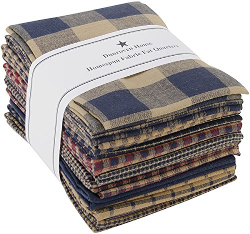 Dunroven House Homespun 12-Piece Fat Quarters, 18 by 21-Inch, Navy