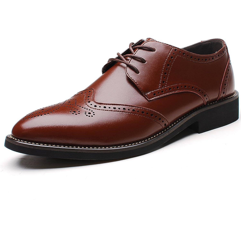 Rismart Herren Uniform- & Berufsschuhe Büro Brogue Schnürsenkel Leder Oxford Shoes SN16856(Braun,EU43.5)
