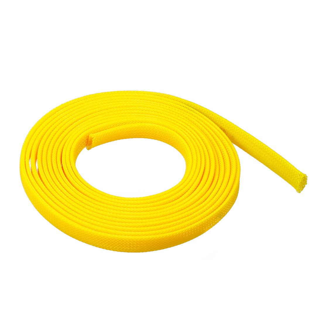 sourcing map 9.84ft 3 Meters PET Expandable Braided Sleeving 6mm Cable Management Sleeve Cord Organizer for Wrap Protect Cables Yellow
