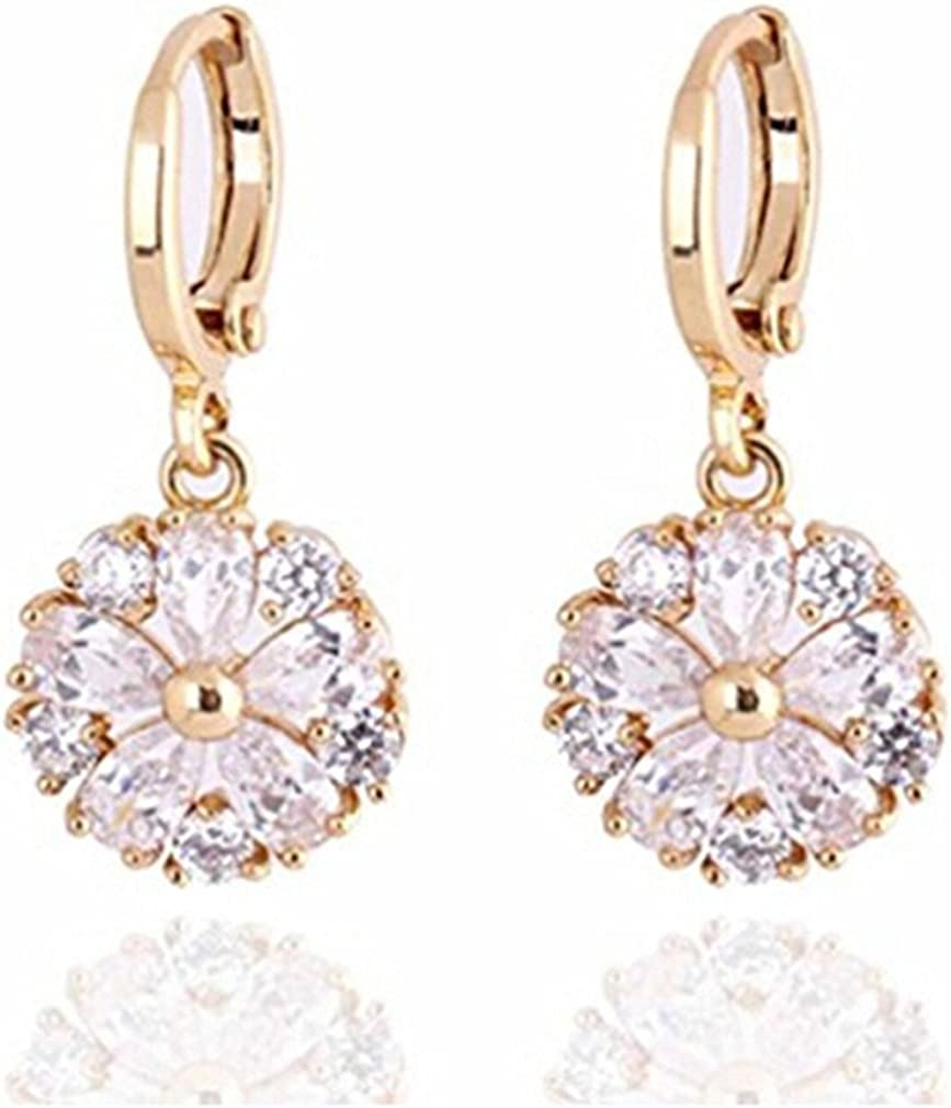 Clear Zircon Hollow Flower Circle Prom Lady Earrings 18K  White Gold Filled