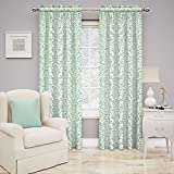 Traditions By Waverly 14973052084SPA Duncan Damask 52-Inch by 84-Inch Single Window Curtain Panel, Spa