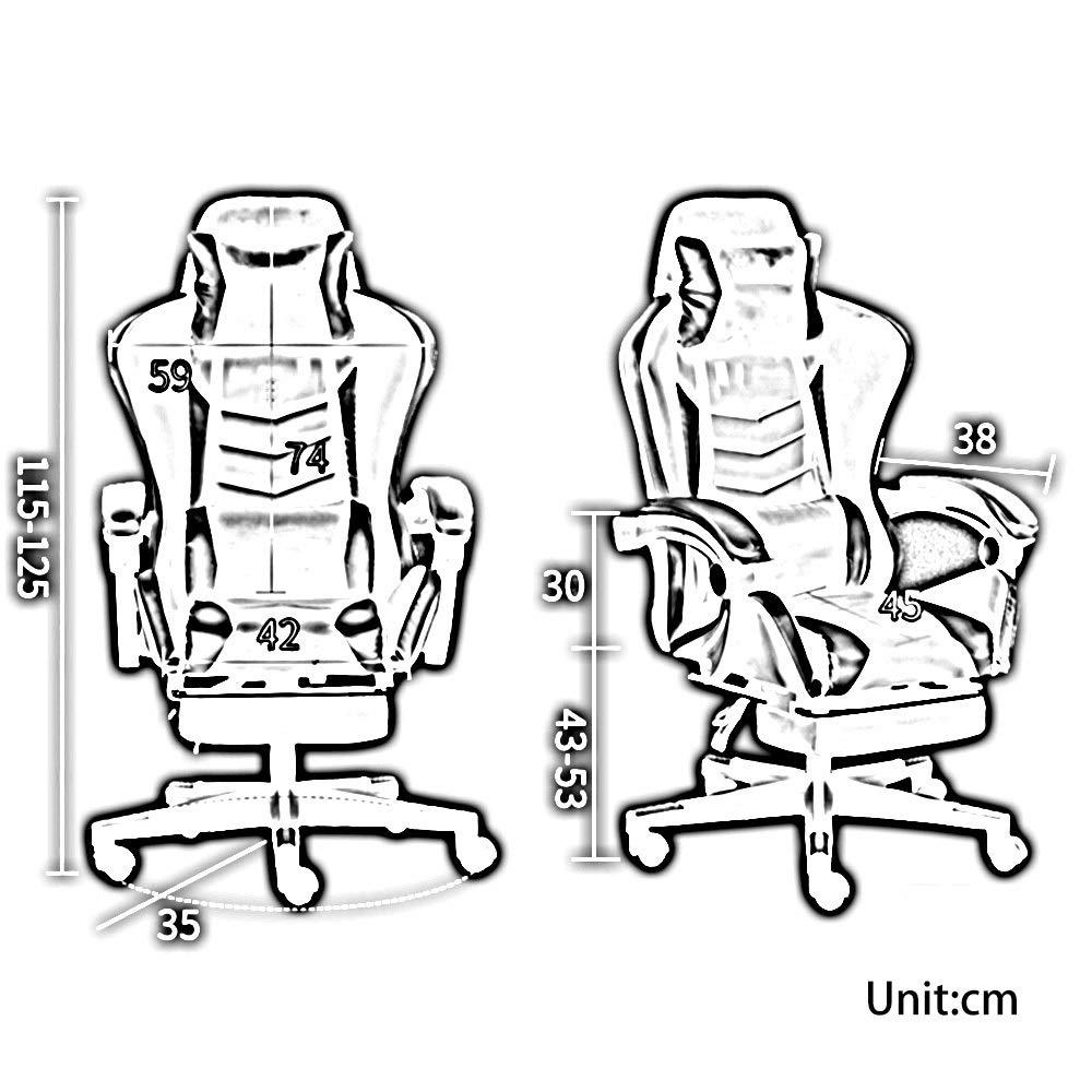 Bseack svängbar stol racerstol, hög rygg spelstol justerbar kontorsstol med fotstöd datorstol med nackstöd och ländrygg stöd flera färger valfritt Svart Svart