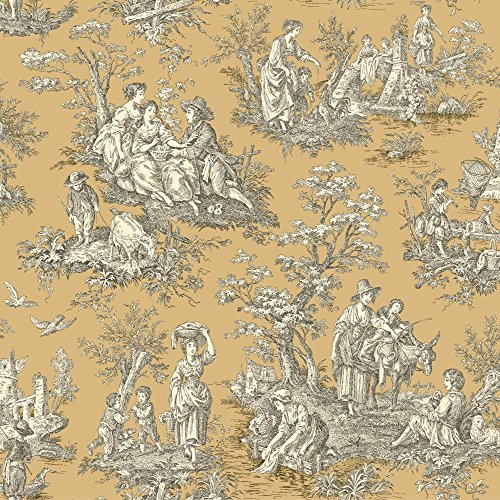 York Wallcoverings Waverly Classics Country Life Removable Wallpaper, Caramel/Cream/Black ()