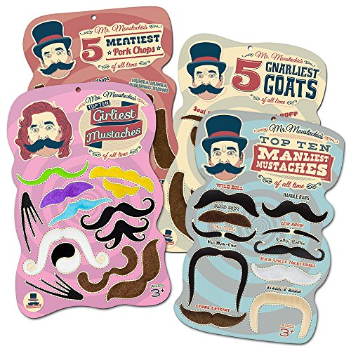 Mr. Moustachio's Facial Hair Four Pack: Top Ten Manliest, Girliest, Gnarliest, and Meatiest Facial Hair, Beard, and Mustache (Costume Party Ideas For Adults)