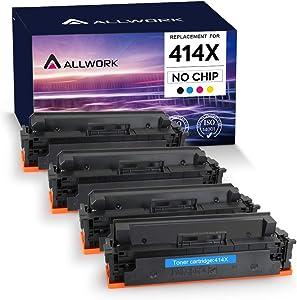 ALLWORK NO CHIP Compatible Toner Cartridge Replacement for HP 414X W2020X W2021X W2022X W2023X 414A for HP Color Laserjet Pro M454dw M454dn MFP M479fdw M479fdn Printer Black Cyan Yellow Magenta