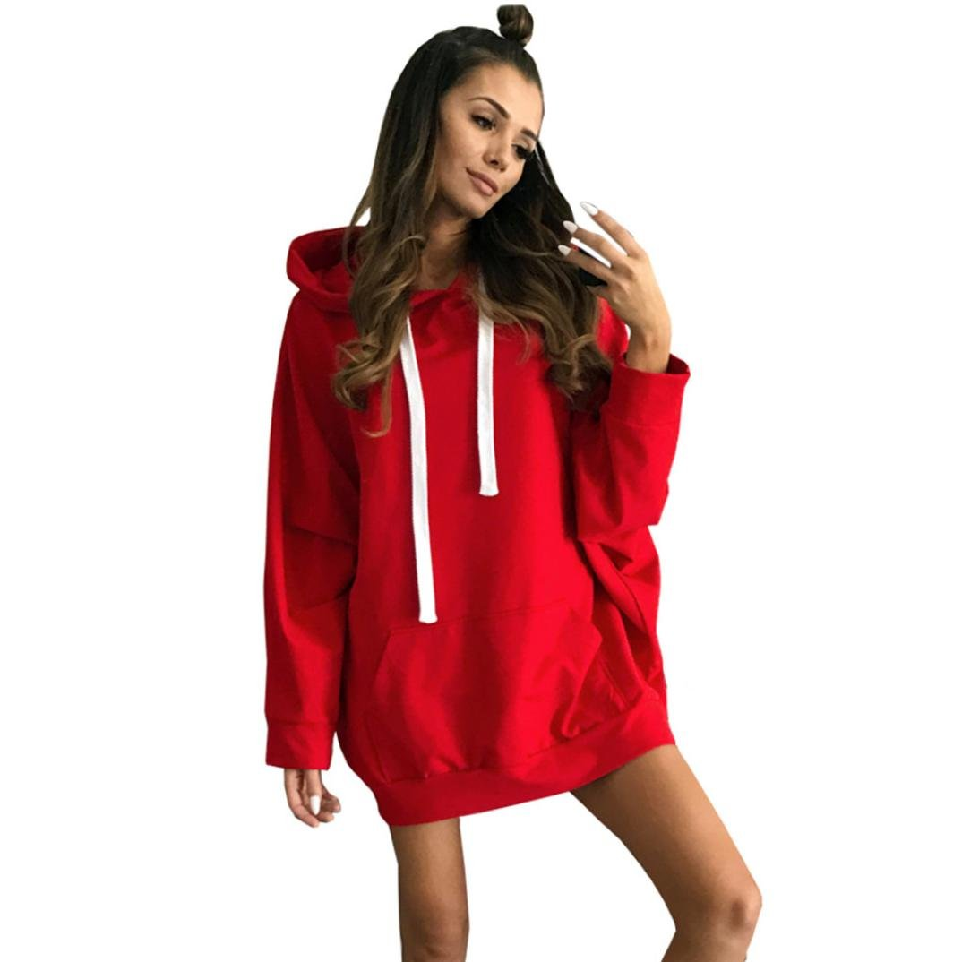 Snowfoller Sexy Women Pullover Dress, Fashion Girls Casual Long Sleeve Hoodie Sweatshirt Cool Neck Solid Mini Dress T-shirt Dress with Pocket (XL, Red)