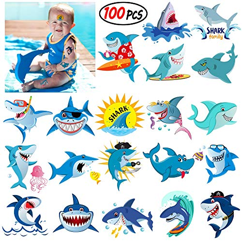 Shark Temporary Tattoos,Grier Ocean Sea Shark Themed Baby Shower Birthday Party Decor,Great hit for party favors for the Boys Girls Kids Party and add to goody bags,SUPER CUTE -
