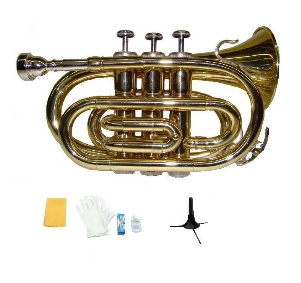 Merano B Flat Gold Brass Pocket Trumpet with Case+Mouth Piece;Valve oil;A Pair Of Gloves;Soft Cleaning Cloth+Stand by Merano