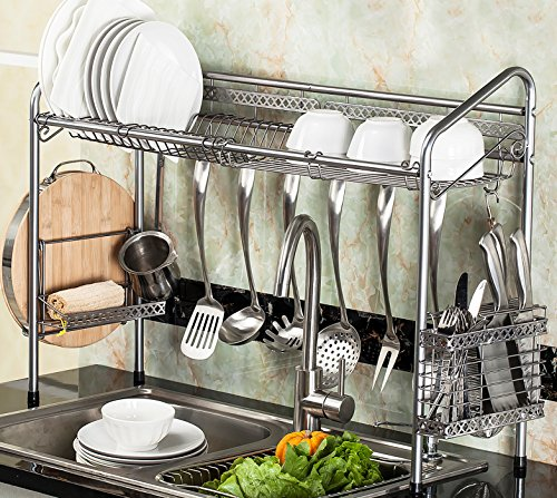 PremiumRacks Professional Over The Sink Dish Rack - Fully Customizable - Multipurpose - Large Capacity - New Product May 2017