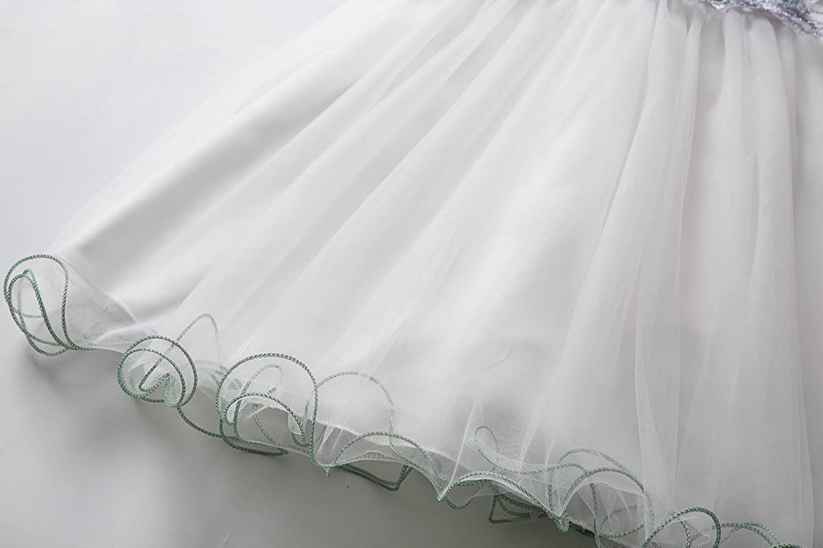 CIELARKO Vestito neonata Bimba Principessa Cerimonia Battesimo Elegante Bambina Floreale Abiti Bianco