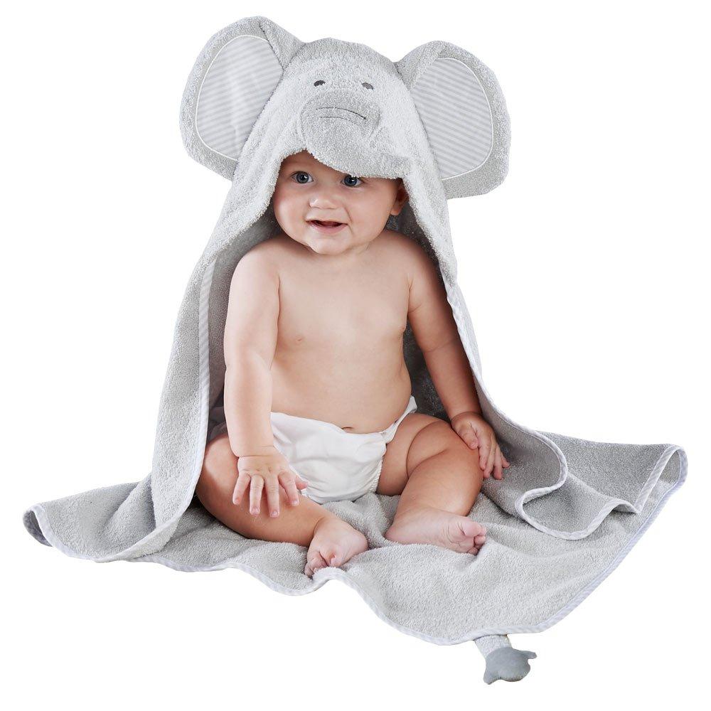 Baby Aspen Little Peanut Elephant Hooded Spa Towel, Grey/White BA14060GR