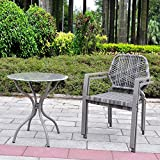 3 Pcs All-Weather Outdoor Bistro Set Resin Wicker Patio Furniture