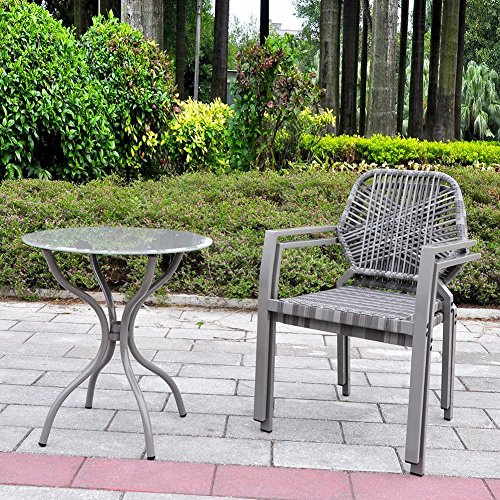 3 Pcs All-Weather Outdoor Bistro Set, Resin Wicker Outdoor Patio Furniture Dining Set, Indoor and Outdoor Bistro Table and Chair Set (Gray) (Cheap Uk Rattan Furniture Garden)