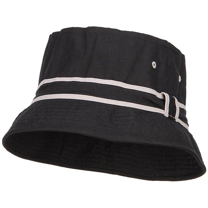 fbe73896bf0 E4hats Big Size Striped Hat Band Fisherman Bucket Hat - Black Grey XL-2XL
