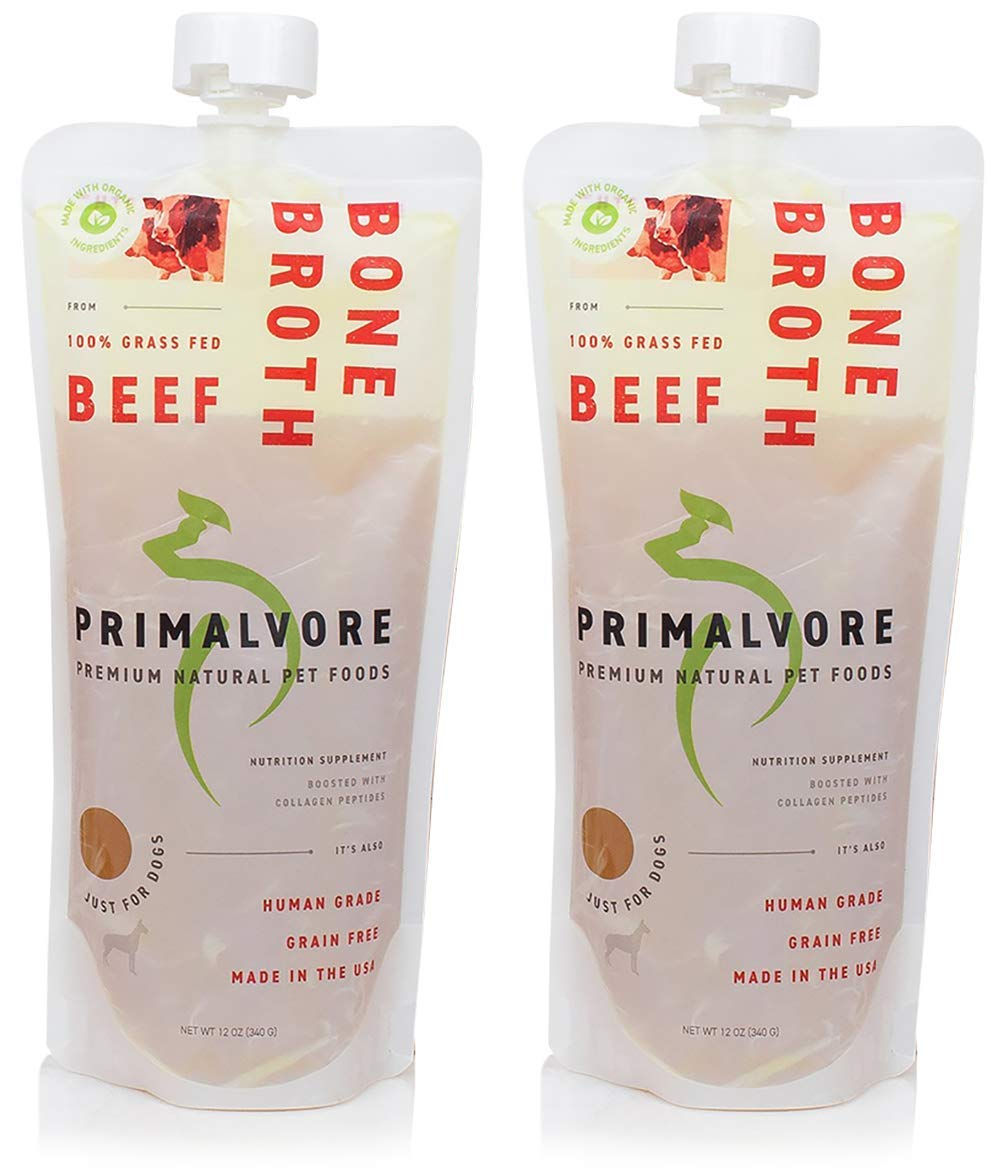 Primalvore: Organic Bone Broth for Dogs & Cats (12 Oz) – Grass Fed Beef or Free Range Chicken Flavors – Human Grade – Support Digestion, Mobility, Shiny Coat & Nails – Added Collagen & Turmeric