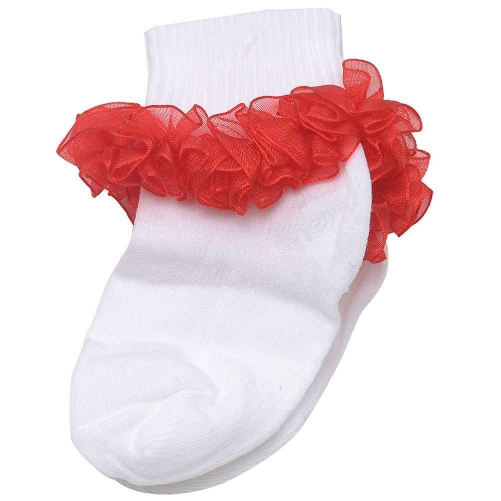【希望者のみラッピング無料】 Piccolo B01H1T3VKI Baby Girlsホワイトレッドフリル付き足首トリムRibbed 3 Cuff Socks 3 – 6.5 3 3 - 4.5 B01H1T3VKI, オオチグン:78aacc66 --- ciadaterra.com