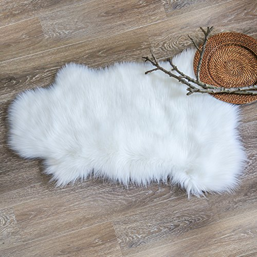 Ashler Soft Faux Sheepskin Fur Chair Couch Cover White Area Rug Bedroom Floor Sofa Living Room 2 x 3 Feet