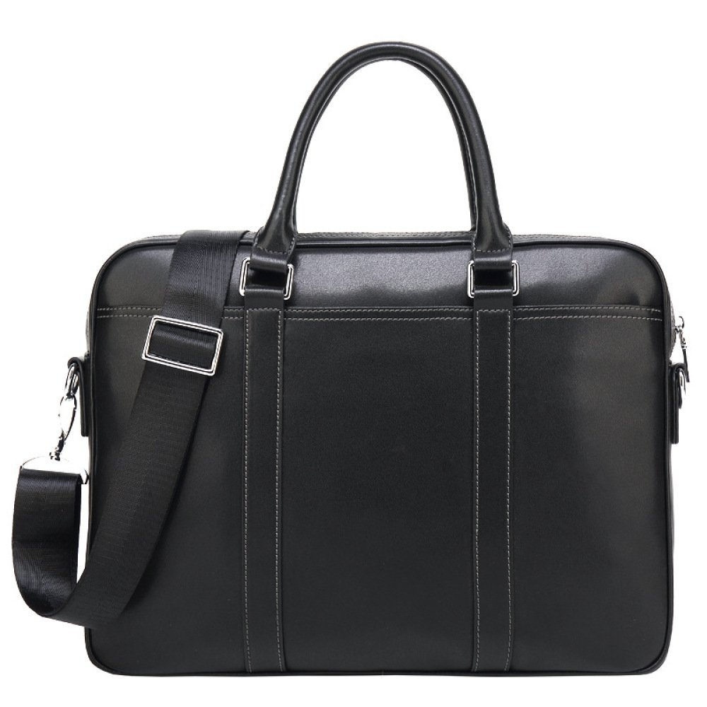 Men's Leather Briefcase Business Tote 14-inch Computer Bag Cross-section,Black-OneSize