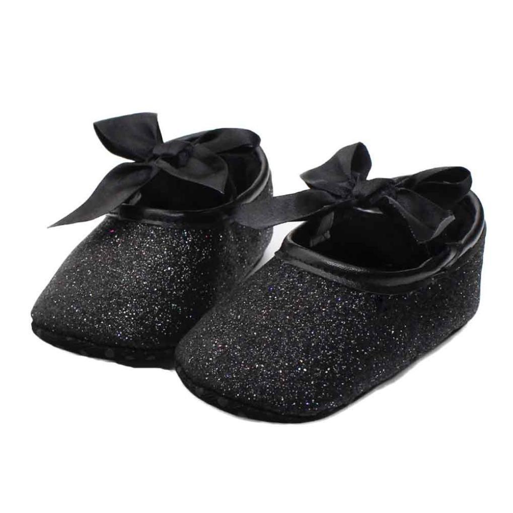 GOTD Glitter Baby Girl Sneaker Anti-slip Soft Sole Toddler Crib Shoes (0~6 Month US 2.5, Black)