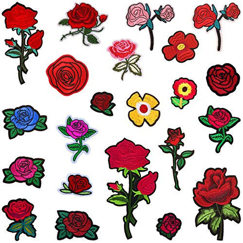 22 Pieces Embroidered Rose Floral Lace Fabric Ribbon Trim Neckline Collar Applique (Cabbage Patch Costume For Adults)
