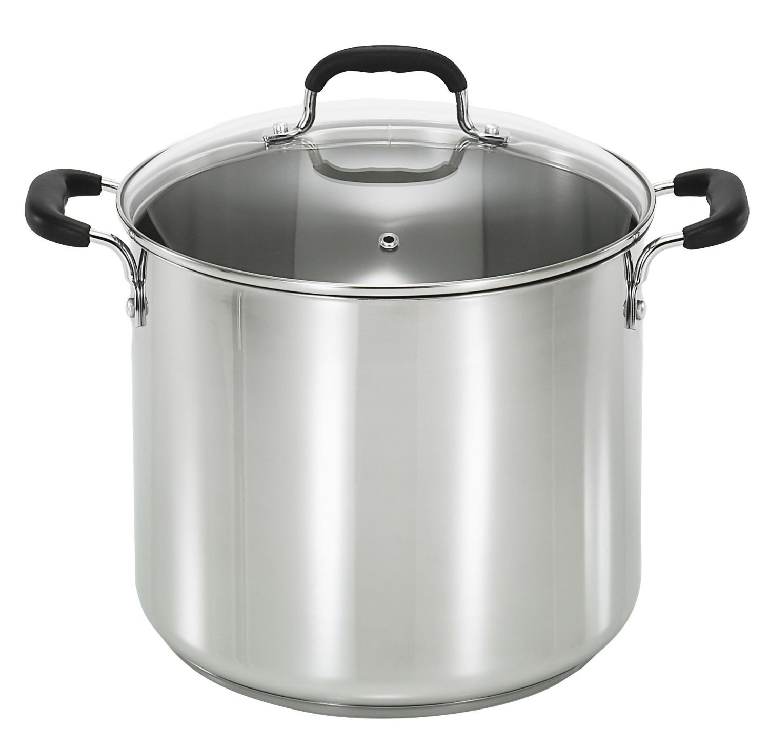 T-fal C99863 Stainless Steel Oven Safe Dishwasher Safe PFOA Free Stock Pot Cookware, 12-Quart, Silver