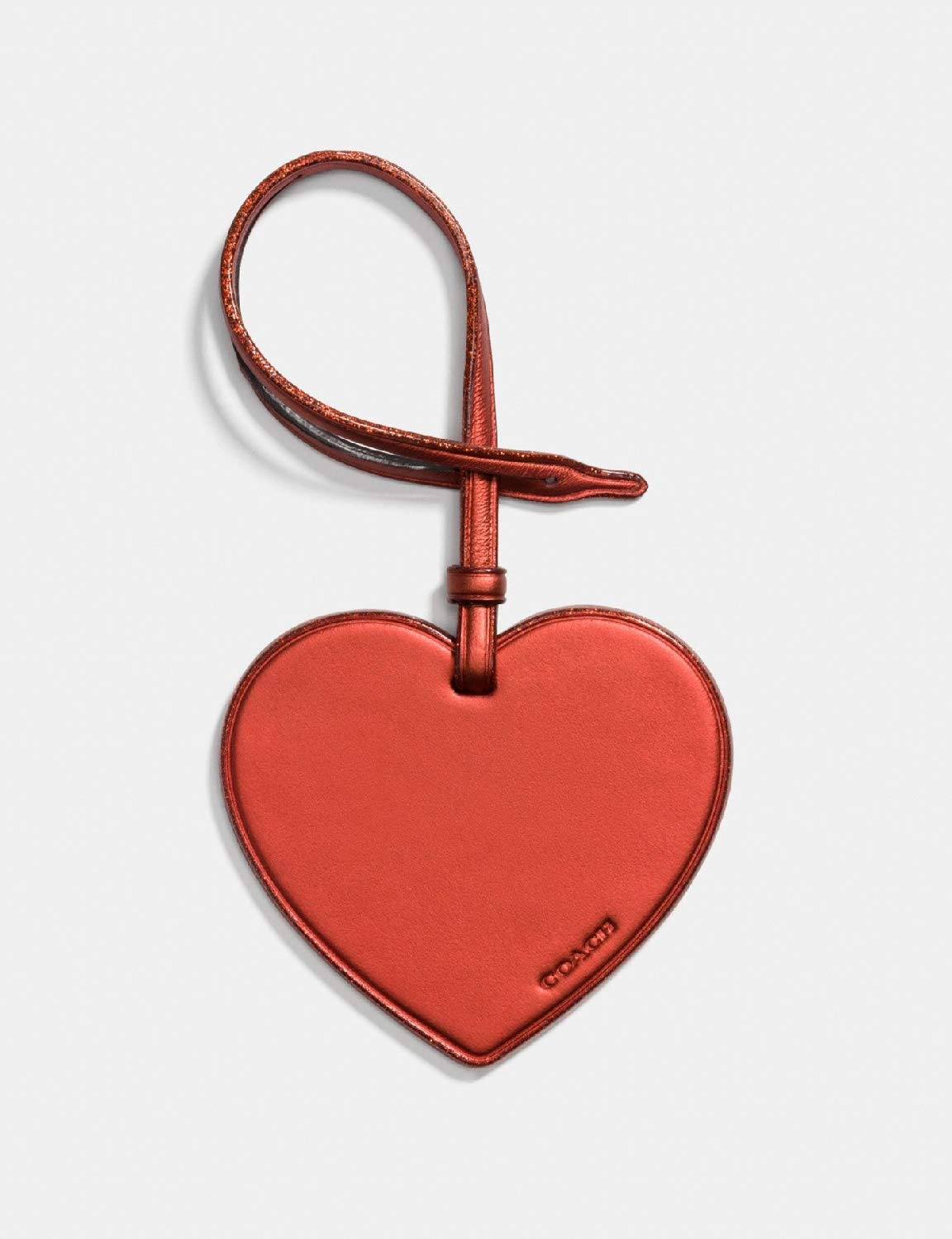 Coach Leather Heart Hang Tag Medallion (Metallic Brick) by Coach