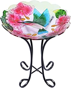 "MUMTOP Outdoor Glass Birdbath with Metal Stand for Lawn Yard Garden Hummingbird Decor,18"" Dia 21.65"" Height"