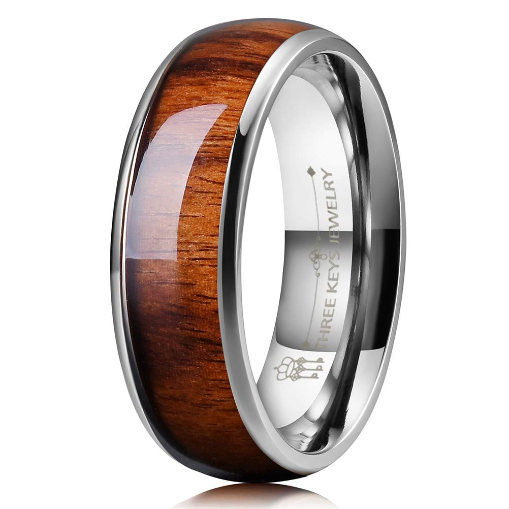 Three Keys Jewelry 8mm Titanium Wedding Band Engagement Ring Silver with Real Santos Rosewood Wood Inlay Comfort Fit Size 11