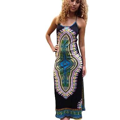 399ad25f81b01c Amazon.com  SunWard Womens Sexy African Printing Sleeveless Harness Dress  Ladies Fashion Slim Dress  Clothing