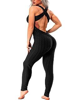 Amazon.com: Mono de yoga para mujer, sin mangas, sin espalda ...