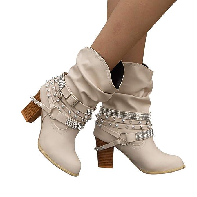 ❤ Botas Cortas de Mujer Cinturón,Mujeres Otoño Invierno Retro Remaches Brillantes Botines Botines de tacón Medio Zapatos Absolute: Amazon.es: Ropa y ...