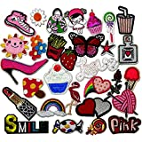 Zhanyue Embellishment Random 30pcs Embroidered Patch Sew On/Iron On Patch Applique Clothes Dress Plant Hat Jeans Sewing Flowers Applique Diy Accessory (For girl)
