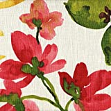 Gazebo Raspberry Red Floral Tailored Valance Lined Linen Blend For Sale