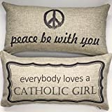 Catholic girl-peace be with you gift Throw Pillow