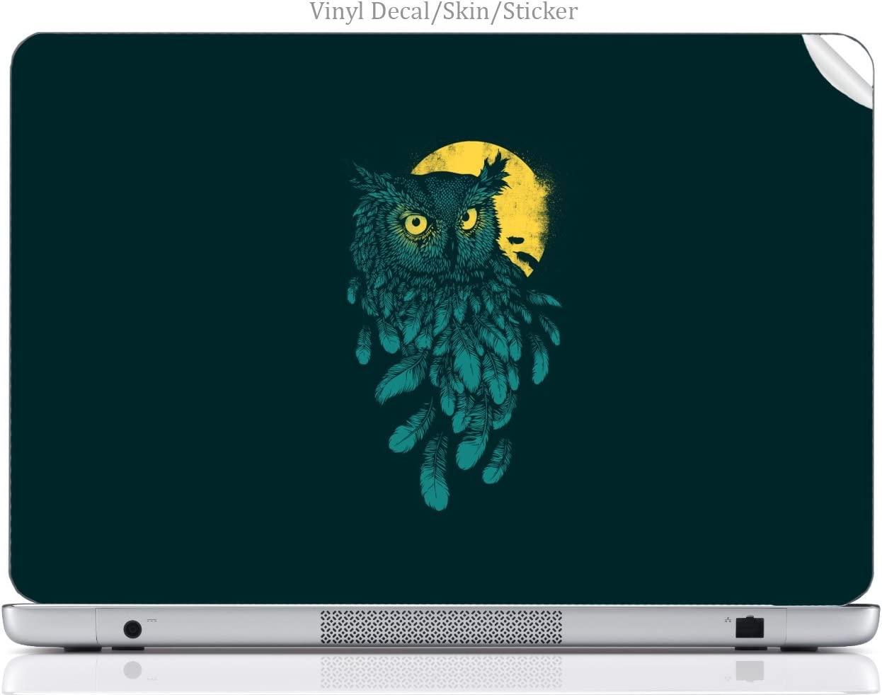 Laptop VINYL DECAL Sticker Skin Print Minimalist Owl & Moon Art fits MacBook Pro 15.4-inch
