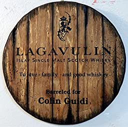 Personalized decorative Sign - whiskey barrel top | Hand painted Lagavulin Whisky artwork and your additional message on a carved, distressed wood sign | Rustic wall decor