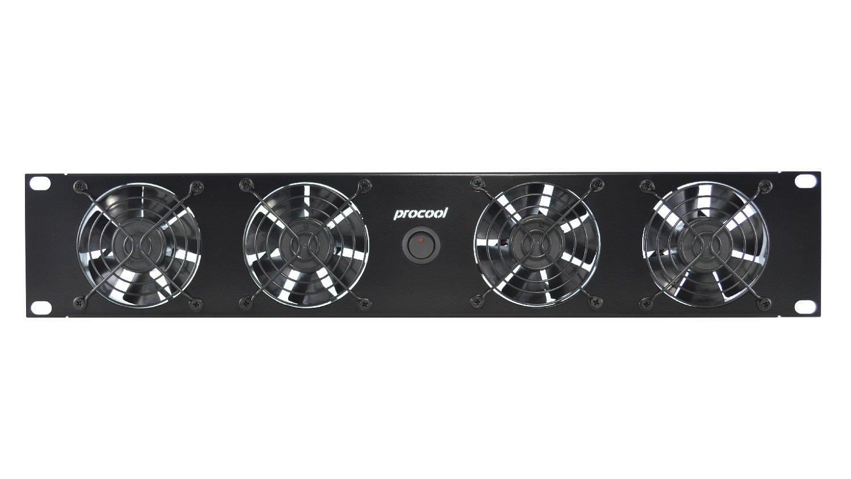PROCOOL SX2280 (2U) Rack Mount Fan / 4 Silent fans / 20 dBA @ 128 CFM/Airflow = IN/Home Theater AV Cooling/Studio Racks