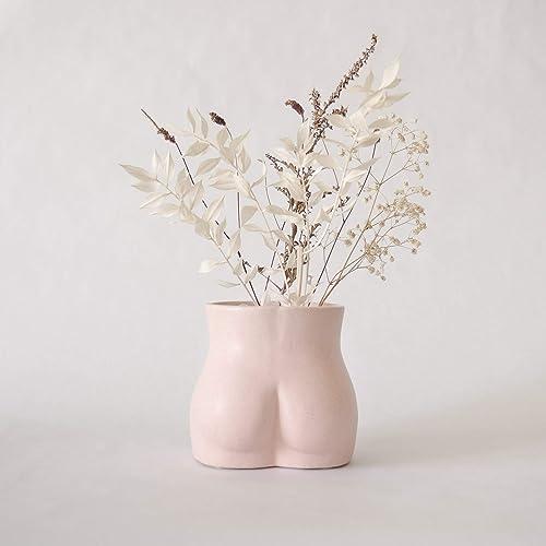 BASE ROOTS Body Flower Vase, Vases for Decor, Modern Boho Chic Home Decor, Small Accent Piece for Living Room, Indoor Plant, Shelf, Mantle, Table, Office, Desk, or Dorm Bottom, Speckled Pink