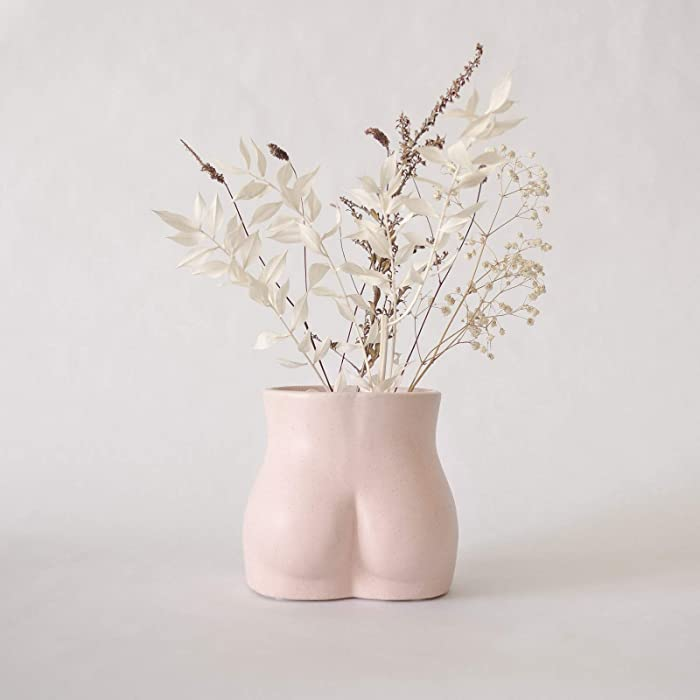 BASE ROOTS Body Flower Vase, Vases for Decor, Modern Boho Chic Home Decor, Small Accent Piece for Living Room, Indoor Plant, Shelf, Mantle, Table, Office, Desk, or Dorm (Bottom, Speckled Pink)