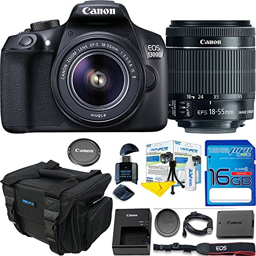 Canon EOS 1300D / T6 EF-S 18-55mm 18.7MP CMOS 5184 x 3456 Pixels (Black) + Deal-Expo Basic Accessories Bundle by Deal-Expo