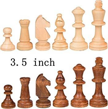 Wigano 3.5 King Size Wooden Weighted Standard Wood Chess Pieces Staunton Figure Pieces