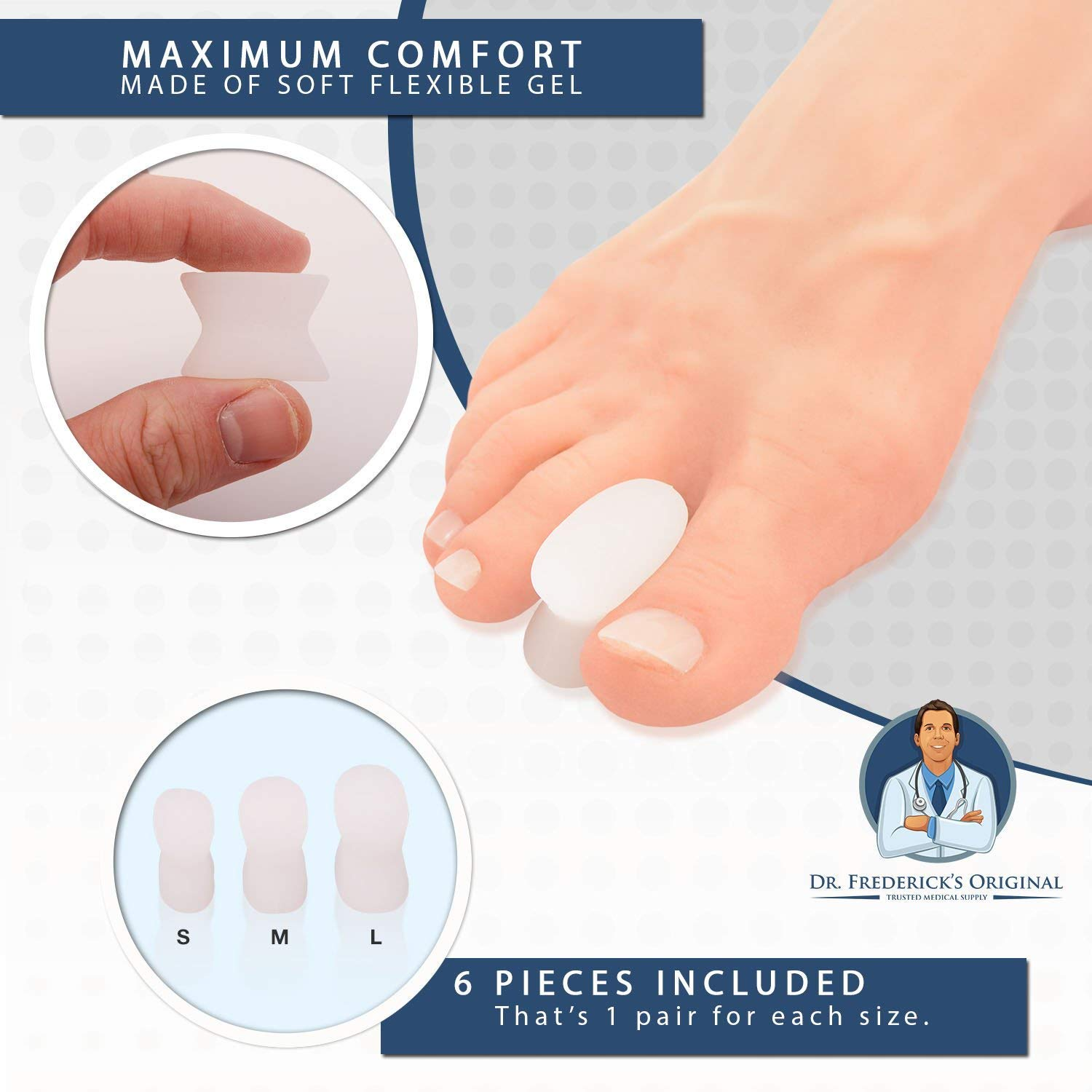 Amazon.com: Dr. Fredericks Original Gel Toe Separators - 6 Pieces - Variety Pack - Bunion Treatment - Small, Medium and Large Sizes: Health & Personal Care