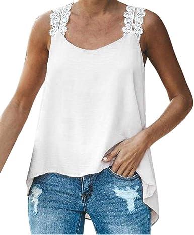 Camisetas sin Mangas Mujer SHOBDW Verano Playa Mar Tamaño Más De Cultivo Sin Mangas Cuello En V Camisola De Encaje Tops De Chaleco Sólido Jersey De La Blusa Camisa Camiseta Suelta: Amazon.es: