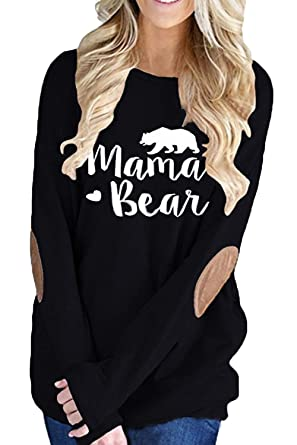 b545afeb894 ALBIZIA Women s Crew Neck Mama Bear Letter Printed Patches T Shirt Top S  Black