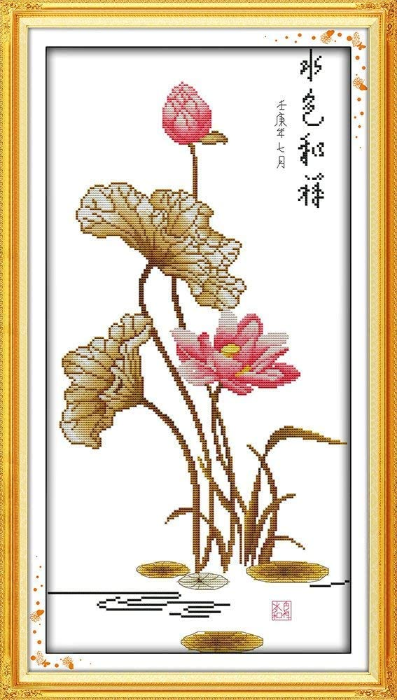 All Beautiful Lotus DIY Preprinted Embroidery Kit for Beginner Happy Forever Cross Stitch Kits 11CT Stamped Patterns for Kids and Adults H466 Dream Lotus 1, Size 12x14