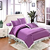 Zhiyuan Ruffle Solid Silky Satin Duvet Cover Bed Skirt Pillowcases Set Purple and White Twin Size