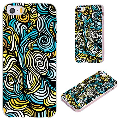 iPhone SE Case,iPhone 5S Case,iPhone 5 Case,VoMotec [Cute Series] Anti-Scratch Slim Flexible Soft TPU Protective Skin Cover Case iPhone 5 5S SE,Yellow Blue Arty Wave Paisley Artist Pattern