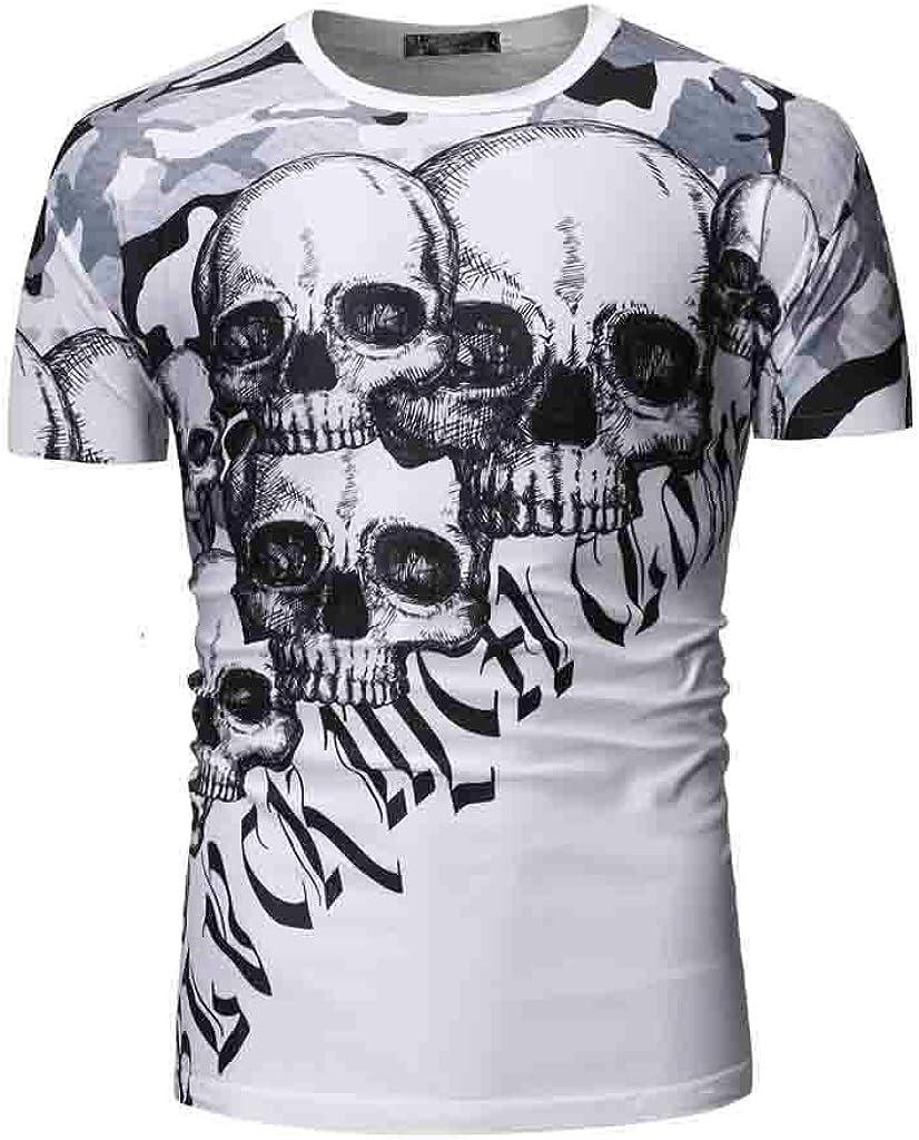 Mr.Macy Mens Summer Casual Printed Skull Short Sleeve Shirt Top Blouse